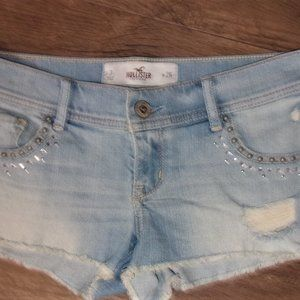hollister size 3 / 26  blue distressed jean shorts